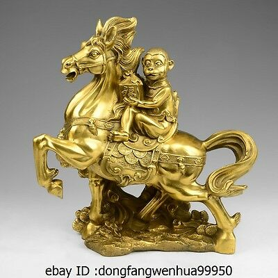 China Brass Copper Palace Fengshui Immediately Seal Hou Monkey Ride Horse Statue