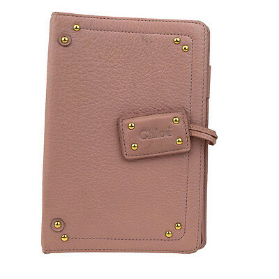 Authentic CHLOE Agenda Notebook Cover Day Planner Leather Pink Italy 08Z401
