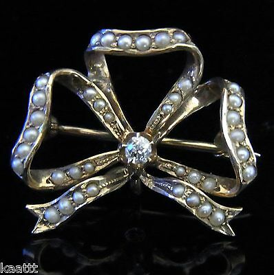 Incredible Old Mine Cut Diamond Seed Pearl 14k Gold Bow Brooch FOB Victorian