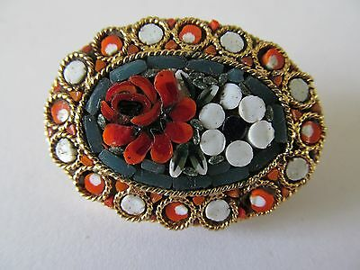 Vintage Wide Italian Micro Mosaic Red-White & Green Tones Designed Brooch Pin