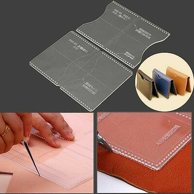 Acrylic Clear Template Handcrafting Set For Leather Wallet Bag Pattern DIY Craft