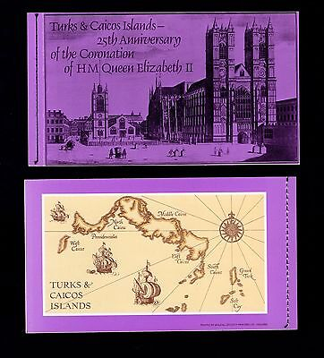 Turks & Caicos Islands 25th Anniv. Coronation QE11 booklet with stamps see scans