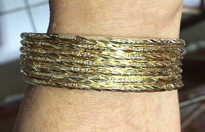 Pre Owned 18k Solid Yellow Gold Bangle 7 Day(1Sets)Diamond Cute 31.95Grams 62 mm