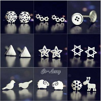 New Fashion Women Cute 925 Sterling Silver Plated Stud Earrings Jewelry Gift