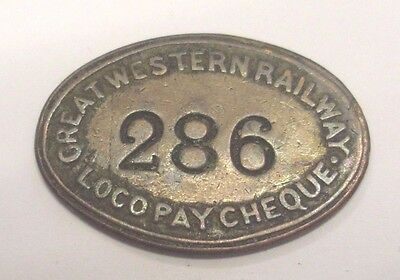 G W R Swindon Loco & Carriage Dept Fully Titled  Oval Copper Pay Cheque #286