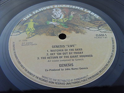 GENESIS LIVE RARE MAD HATTER 1st 1973 Press UK LP TIME CAPSULE COPY TWO PLAYS