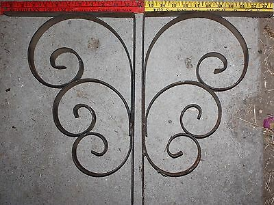 """2 HUGE VINTAGE 17""""x11"""" CURLY WROUGHT IRON CORBELS and/or SHELF BRACKETS"""