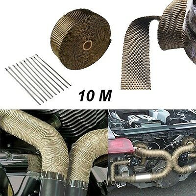 10M Exhaust Manifold Downpipe Heat Wrap High Temp& 10x Cable Ties Rap Titanium