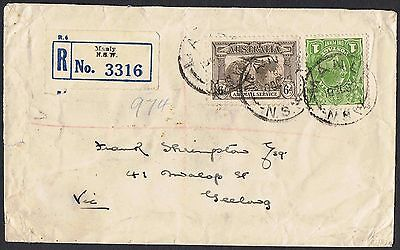 1931 6d sepia Airmail + KGV 1d green on registered cover TS344