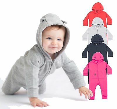 Infants Baby Boys Girls Fleece Babygrow Romper Play Body Jump Suit with Hood
