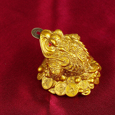 Gold Feng Shui Money LUCKY Fortune Chinese I Ching Frog Toad Home Decor