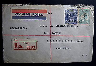 1930 Predecimal First Day Cover - 3d blue KGV, 1/- green roo