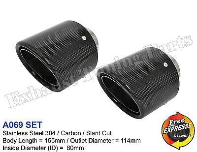 "Exhaust Tip Tailpipe trim Carbon 4.5"" 114mm VW Golf 5 R32 VW Golf 6 R20"