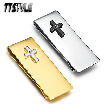 TTstyle 316L Stainless Steel Cross Money Clip Silver/Gold NEW