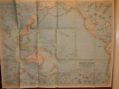 VINTAGE MAP 1952 of THE PACIFIC OCEAN.