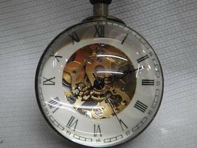 Work CHINESE OLD BRASS GLASS pocket watch BALL clock 2.5