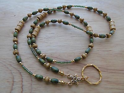 Handmade Beaded Spectacle / Glasses Chain Holder / Necklace. Wood Beads