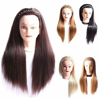 Salon Hairdress Cosmetology Synthetic Long Hair Training Hair Mannequin+Clamp