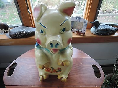 """VTG Chalkware Piggy Bank-15"""" 40's's-upright with decal"""