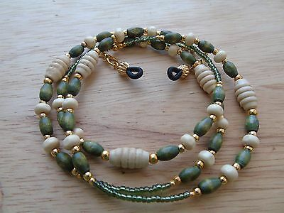 Beaded Wood Spectacle  Glasses Chain Lanyard Necklace. Green
