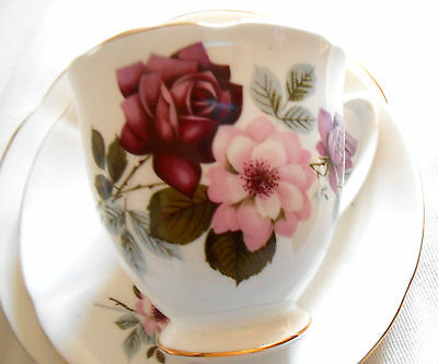 Taylor & Kent England Pink Roses bone china tea cup saucer side plate trio vgc