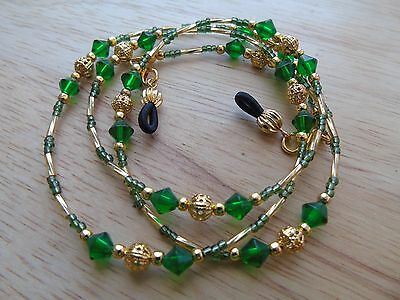 Beaded Green Gold Coloured Spectacle  Glasses Chain Lanyard Necklace.