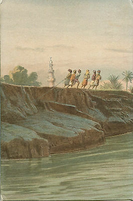 1900s Postcard Young arabs hauling a rope location unknown