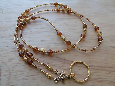Handmade Beaded Spectacle / Glasses Chain Holder / Necklace. Brown Gold
