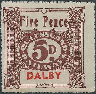 QUEENSLAND 1927-66 RAILWAYS 5d Brown inscribe DALBY station Never hinged mint