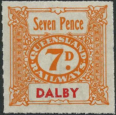 QUEENSLAND 1927-66 RAILWAYS 7d Orange inscribed DALBY station Never hinged mint