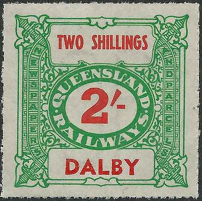 QUEENSLAND 1927-66 RAILWAYS 2/- Green inscribed DALBY station Never hinged mint