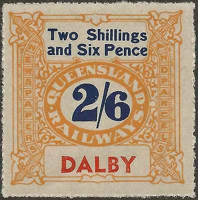 QUEENSLAND 1927-66 RAILWAYS 2/6 Yellow inscribe DALBY station Never hinged mint
