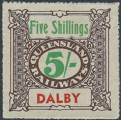 QUEENSLAND 1927-66 RAILWAYS 5/- Brown inscribed DALBY station Never hinged mint