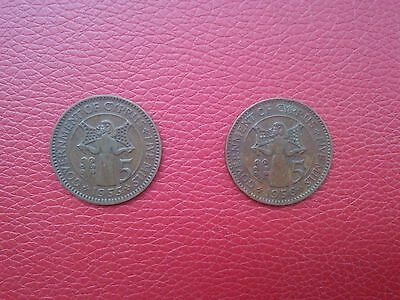 Two Five Mils Cyprus coins (1955 & 1956) - VERY GOOD QUALITY