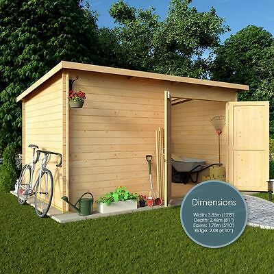 12 x 8 Windowless Garden Shed Heavy Duty Storage Workshop 19mm Tongue Groove