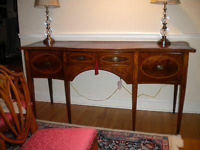 Large fancy Walnut burl wood inlaid serpentine bowfront sideboard buffet