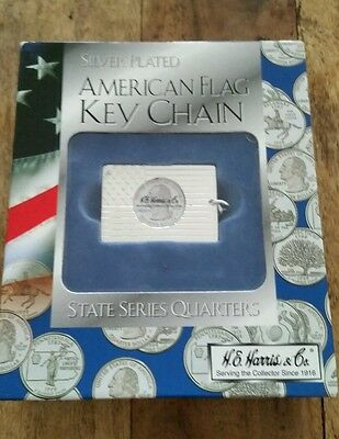 H.E HARRIS & Co. SILVER PLATED AMERICAN FLAG KEY CHAIN-STATE SERIES QUARTER NEW