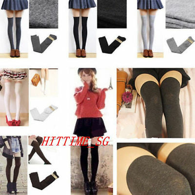 Over The Knee Thigh High Cotton Socks Stockings Leggings Women Ladies Girls  BY