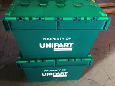 Storage Containers Tote Boxes Attached Lid Storage Box Stackable x 10 Boxes!