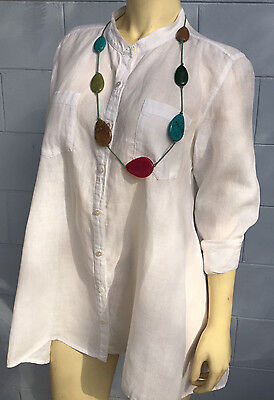 LOT 2 Eileen Fisher Long Sleeve  Shirts blouse + Accessory cute.