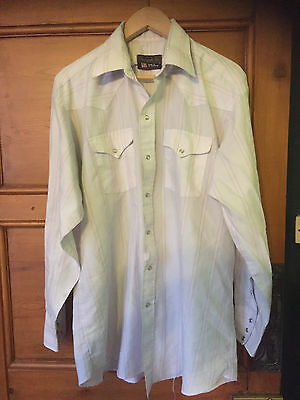 Vintage 70's Mens Western USA Pearl Snap Shirt Ranch Barn 17 XL