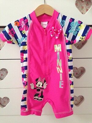 Disney Baby Girls Minnie Mouse All In One Swimsuit Swimming Suit 9-12 Months ��