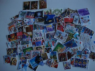 Small Collection of 90 GB Christmas Stamps, Used,  All Different,