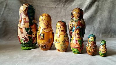 UNIQUE Nesting Doll ALICE in WONDERLAND 6 pc. set Hand Painted ONE OF THE KIND