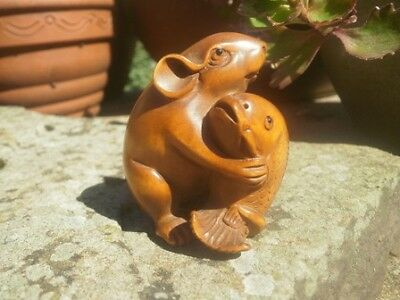 Hand carved wood netsuke mouse holding fish, antique / vintage style figure