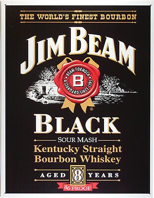 Jim Beam Black label Whisky Blechschild Flach Neu aus USA 31x40cm mit Bset