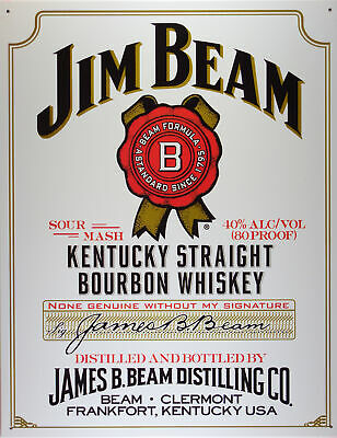 Jim Beam White Label Whisky Blechschild Flach Neu aus USA 31x40cm mit Bset