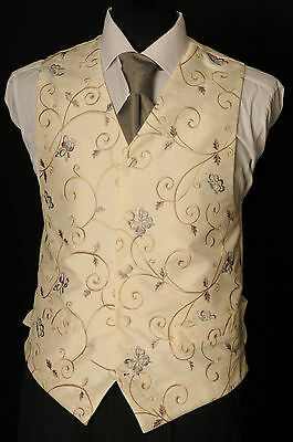 W - 1082.mens/boys Ivory With Lilac Floral  Wedding Waistcoat/ Dress / Suit