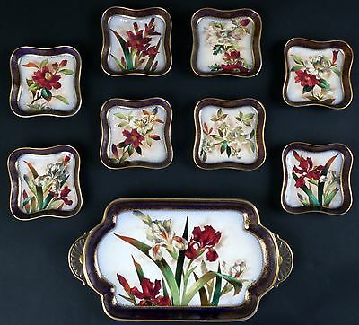 Antique Doulton Burslem Hand-Painted Dessert Set, botantical