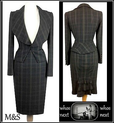 46 M&S 14 16 Stunning Grey Skirt Suit Ladies Limited Collection Marks Spencers